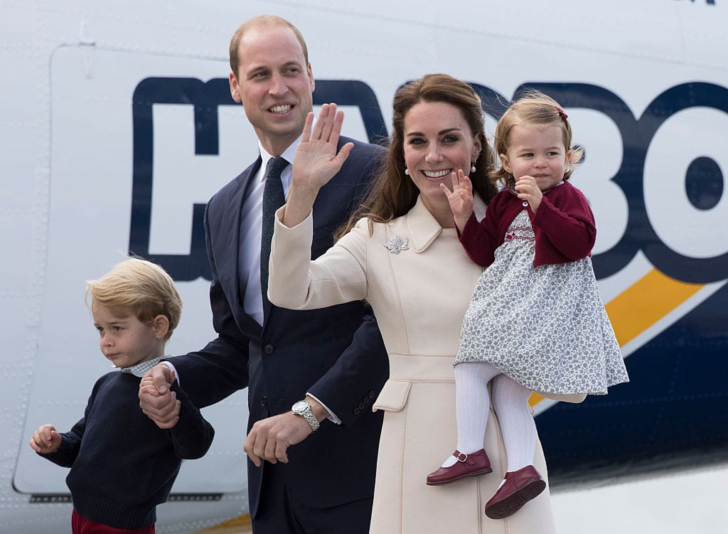 Prinz William, Prinz George, Herzogin Kate und Prinzessin Charlotte