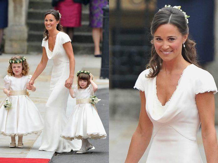 Pippa Middleton en robe blanche longue pour mariage de sa soeur